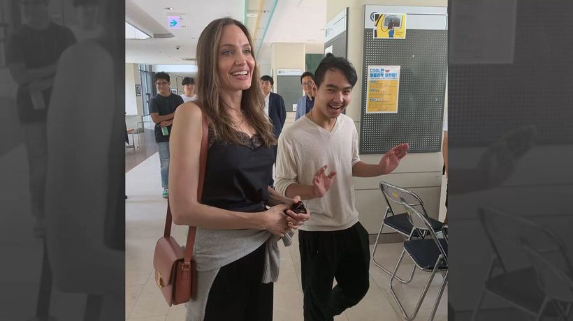 Angelina Jolie fights back tears as she drops son Maddox off college in South Korea