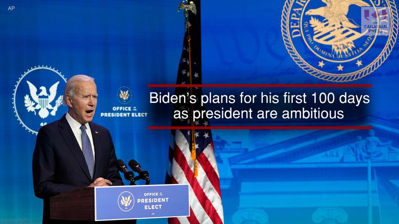 Biden's plans for his first 100 days as president are ambitious