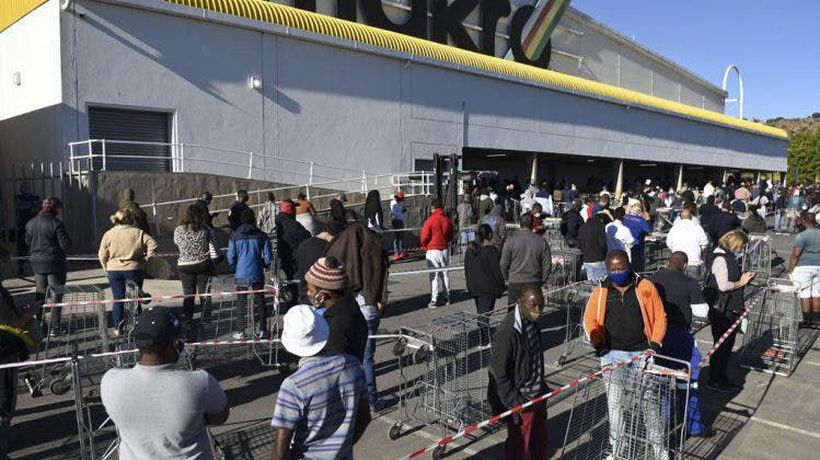 People queue for booze at Makro Clearwater, under level 3 of lockdown.