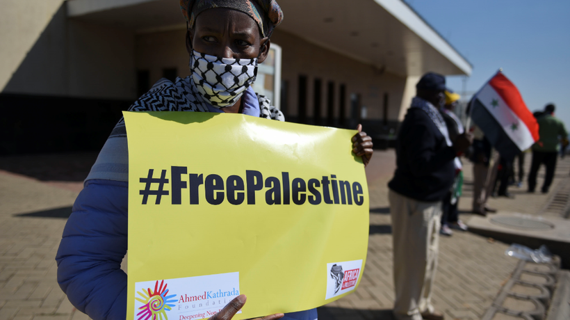 Supporters of the Ahmed Kathrada Foundation and #Africa4Palestine take part in a picket.