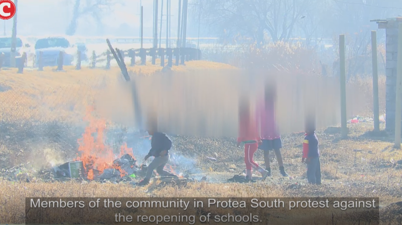 Members of the community in Protea South protest against the reopening of schools