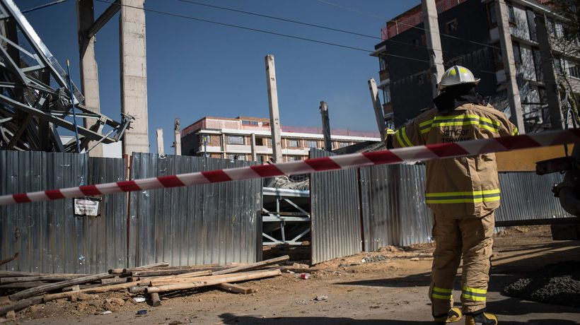 A structure at the Jacaranda Centre in Pretoria collapses.