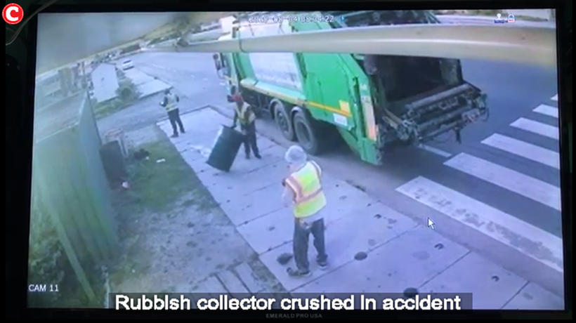 Rubbish collector crushed in accident