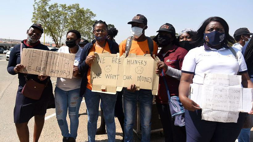 Community healthcare workers stage a protest at Lenasia South District Hospital