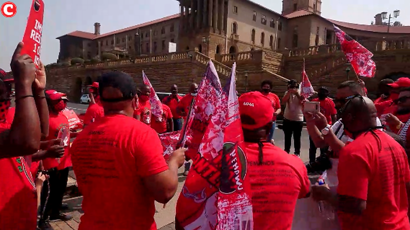NEHAWU leadership protest at the Union Buildings