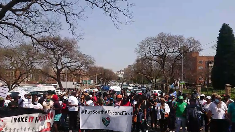 A group of protesters are marching to the Nigerian Embassy in Pretoria