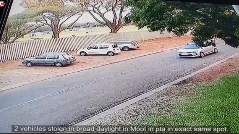Two vehicles stolen in 2 days, in the exact same spot in Pretoria.