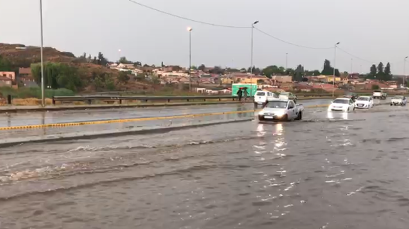 The Klipspruit Valley Road in Soweto was flooded on Monday afternoon.