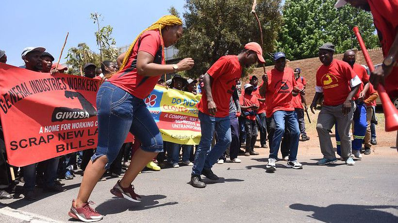 Clover workers protest outside Clayville branch in Olifantsfontein