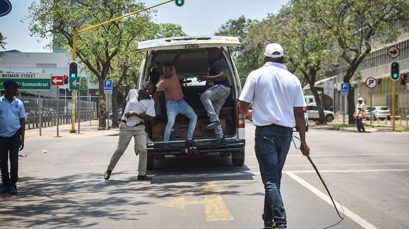 Taxi operators blockaded roads on Wednesday as they sought outstanding money