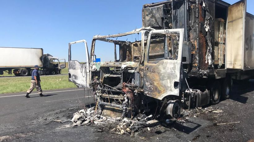 Two trucks that where set on fire early Wednesday morning on the N12 between Kingsway and Pansy