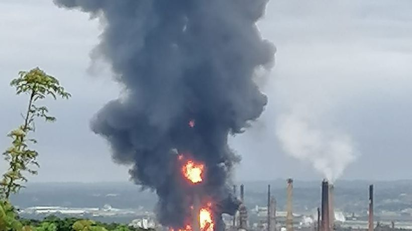 Engen oil refinery south of Durban busts into flames