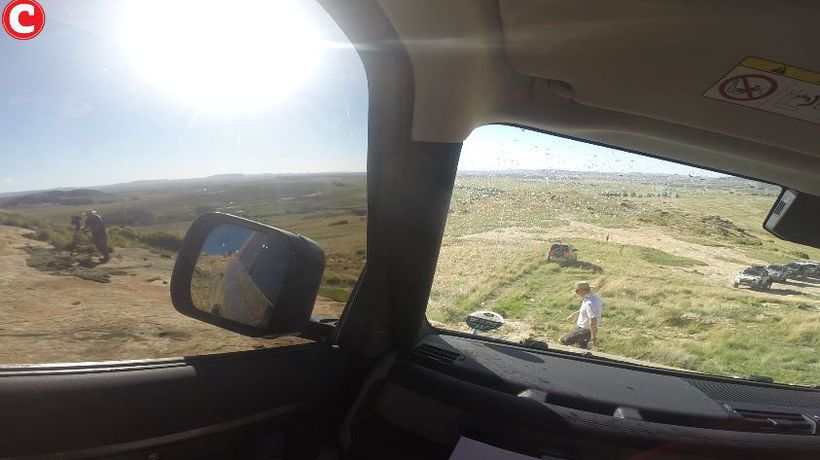 Driving down a steep incline in the new Land Rover Defender range