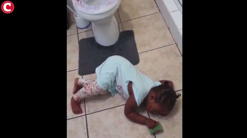 Two-year-old plays dead to get out of trouble