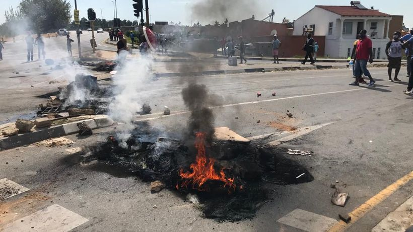 Residents in Alexandra protest against the removal illegal electricity connections