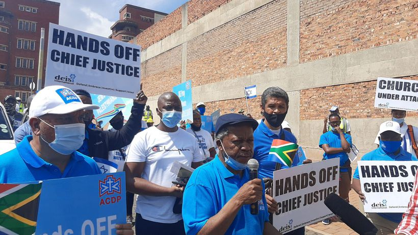 ACDP leader and followers picket at ConCourt in support of Mogoeng