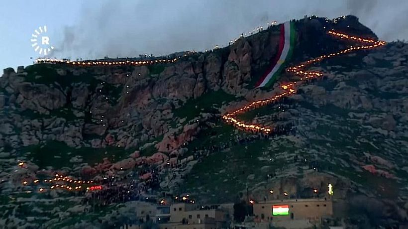 World News - Watch: Iraqi Kurds celebrate Nowruz with torchlit mountain procession