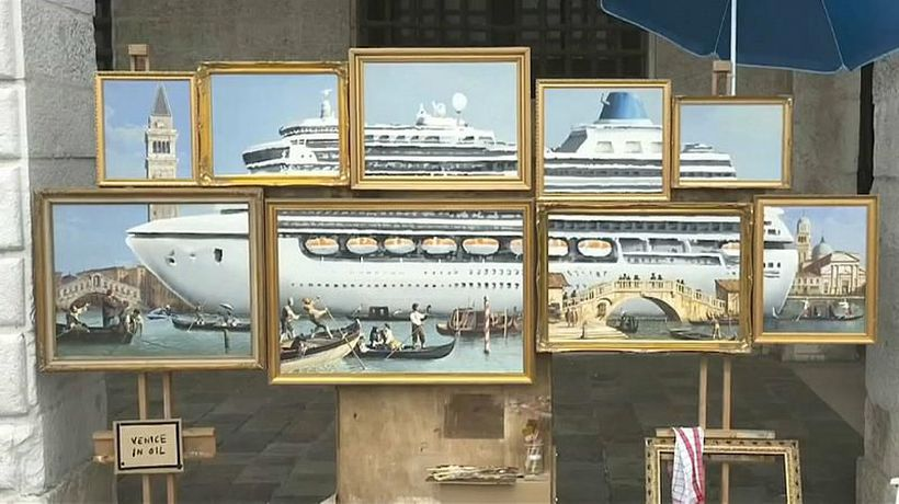 Watch: Guerrilla artist 'Banksy' sets up stall outside Venice Biennale