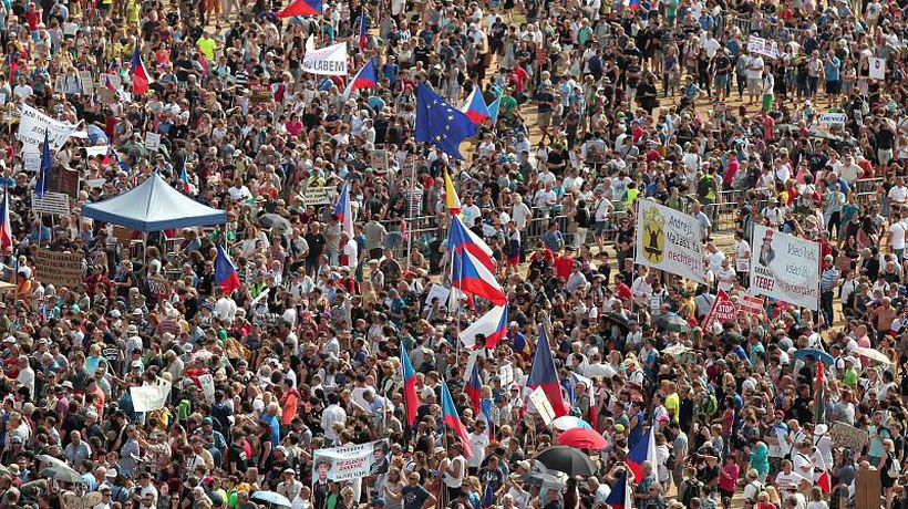 Tens of thousands rally in Prague in biggest protests since Velvet Revolution