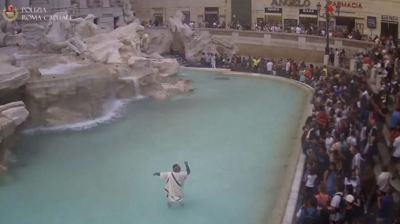Watch: Protester dressed as ancient Roman jumps into Trevi fountain