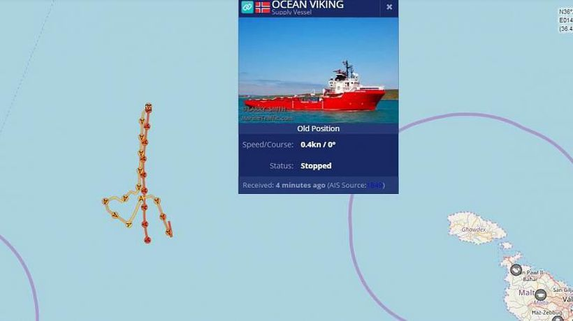 Ocean Viking: Stranded migrant rescue ship sails in shape of a heart to raise awareness