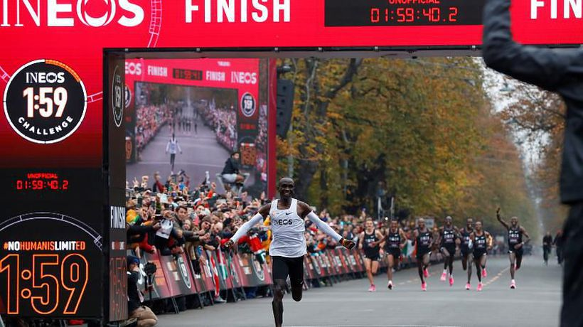 Watch: Kenyan Eliud Kipchoge becomes the first person to run unofficial, sub-two-hour marathon