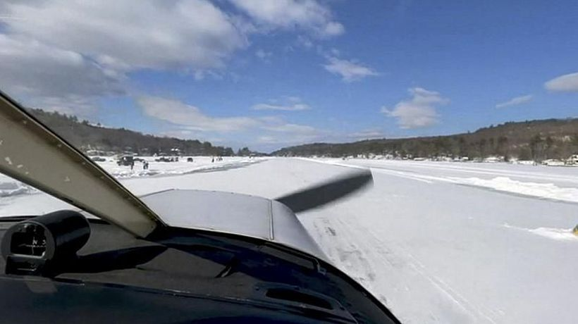 These pilots are landing on a runway made of ice