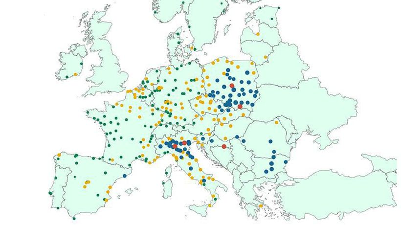 Which cities in the European Union are worst for air pollution?