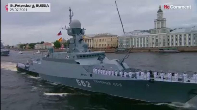 Over 50 warships take part in Russia`s Navy Day parade in St Petersburg