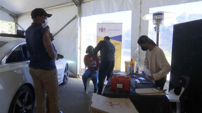 South Africa: Jab drive-through centre set up at carpark in Johannesburg