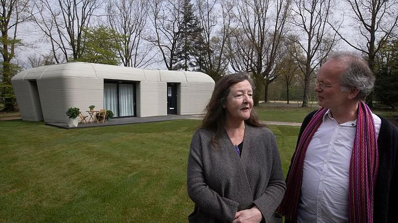 A 3D printed home shaped like a boulder has just got its first tenants