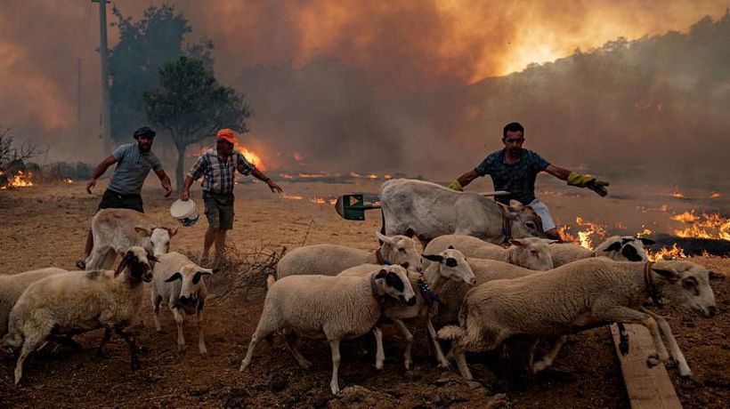 Locals in Turkey scramble to fight the fire surrounding their village