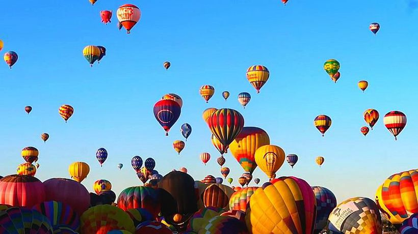 Hundreds of hot air balloons light up the sky at the world's largest festival