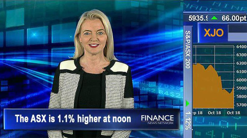 Banks on the rise: The ASX is 1.1% higher at noon