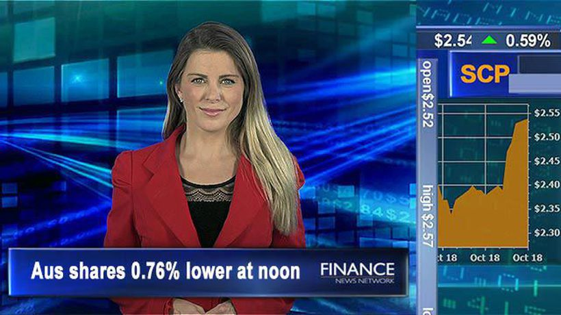Shopping Centres Aus eyes all-time high: Aus shares 0.8% lower at noon