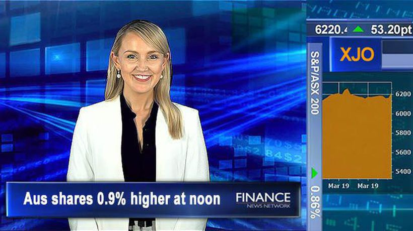 Linius Technologies displays new blockchain tech: Aus shares 0.9% higher at noon