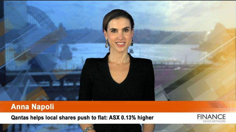Qantas helps local shares push to flat: Aus shares 0.1% higher at noon
