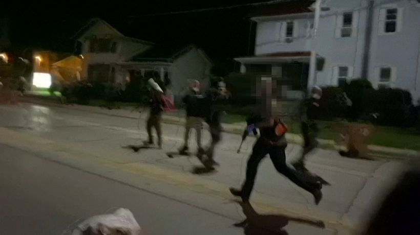Chaotic scenes as gunfire rings out during unrest after Jacob Blake shooting