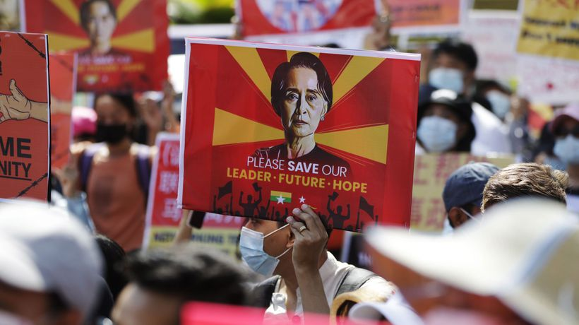 Tens of thousands protest in Myanmar nine days after coup