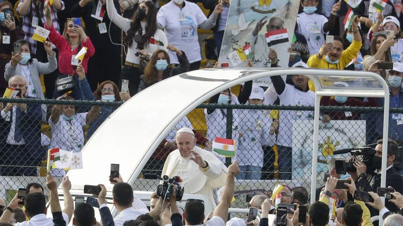 'Salam, salam, salam': thousands attend Pope's mass at Irbil stadium