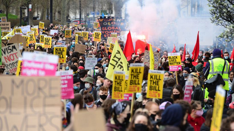 'Kill the Bill': thousands rally in London to protest policing bill