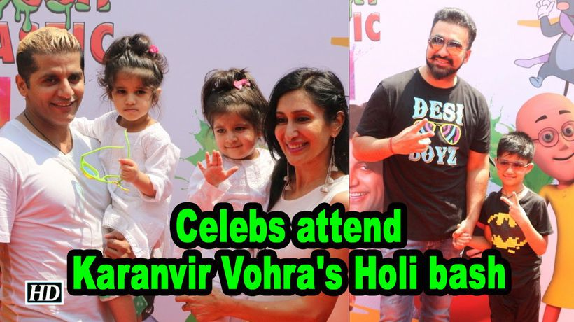 Raj Kundra Karan Mehra with kids attend Karanvir Vohras Holi bash
