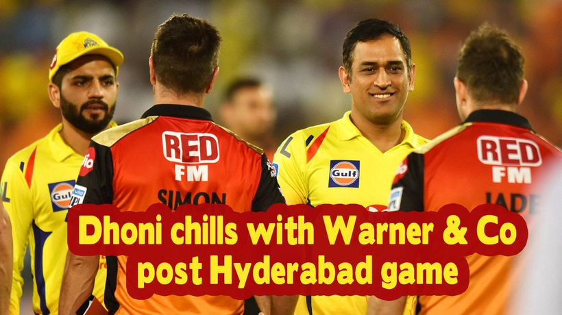 IPL 2019 Dhoni chills with Warner Co post Hyderabad game