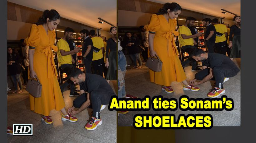 Anand ties Sonams SHOELACES Giving husband goals