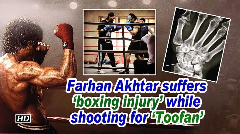 Farhan akhtar suffers boxing injury while shooting for toofan