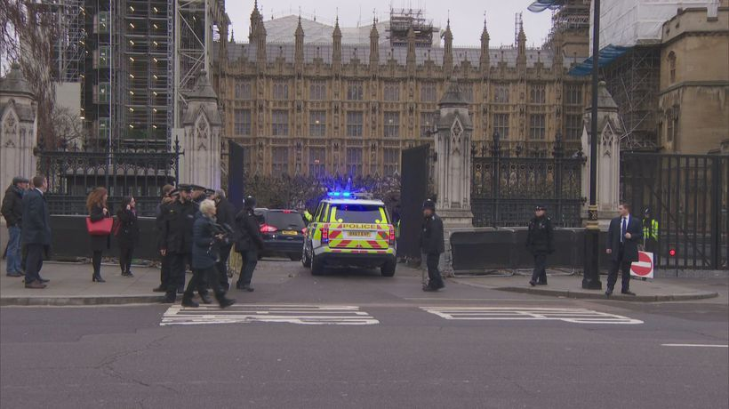 Theresa May arrives at the House of Commons