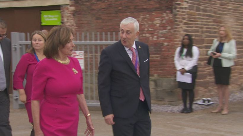 Hoyle and Pelosi arrive for Heads of Parliament Conference