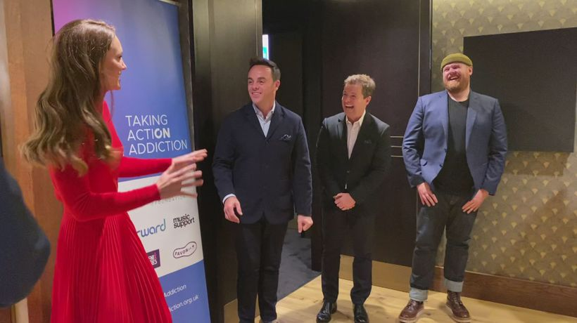 Kate surprised by Ant and Dec at addiction awareness event