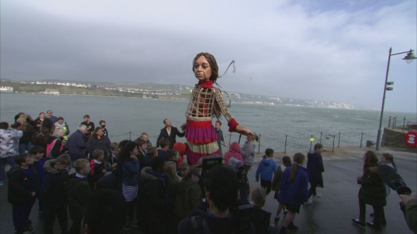 Jude Law welcomes 'Little Amal' refugee puppet