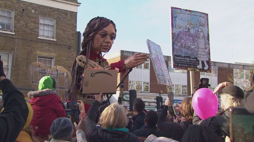 Little Amal given a grand welcome by residents of Deptford